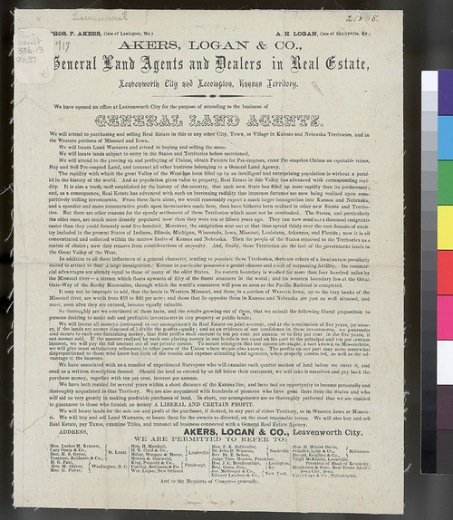 Akers, Logan & Company, Kansas Territory - Page