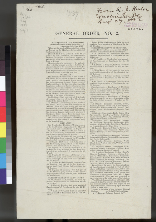 General Order No. 2, Headquarters Kansas Volunteers, For the Protection of the Ballot Box - Page