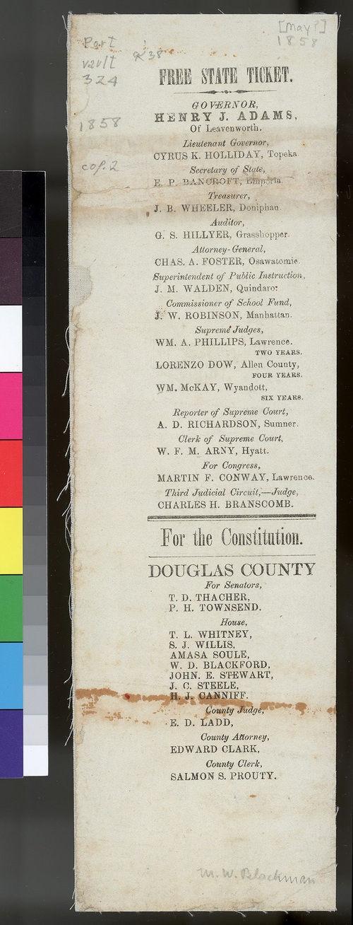 Free State Ticket - Minneola/Leavenworth Constitution - Page