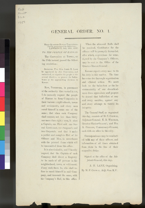 General Order No. 1, Headquarters of Kansas Volunteers - Page