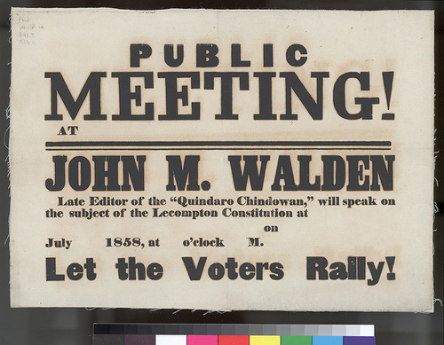 Lecompton Constitution public meeting announcement - Page