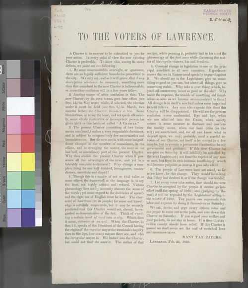 Political appeal against new charter, Lawrence, Kansas Territory - Page