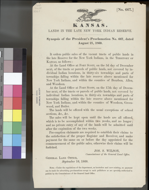 Lands in the New York Indian Reserve, Kansas Territory - Page