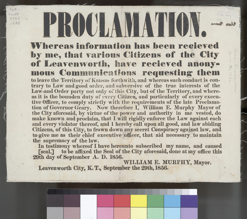 Leavenworth, Kansas Territory, proclamation - Page