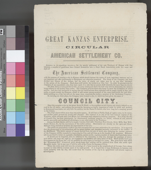 Great Kanzas Enterprise, Circular of the American Settlement Company - Page