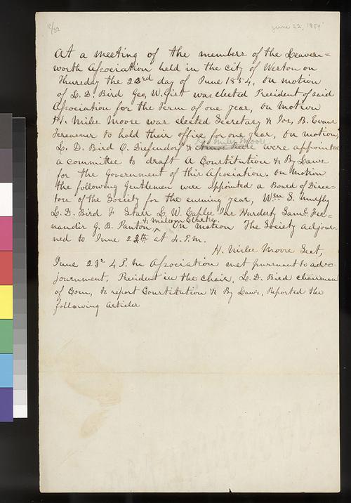 Leavenworth Association, Kansas Territory, meeting minutes - Page
