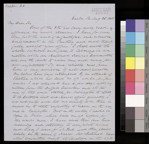Andrew H. Reeder to William Hutchinson - Page