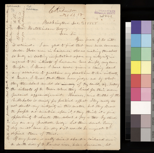 Charles Robinson to William Hutchinson - Page