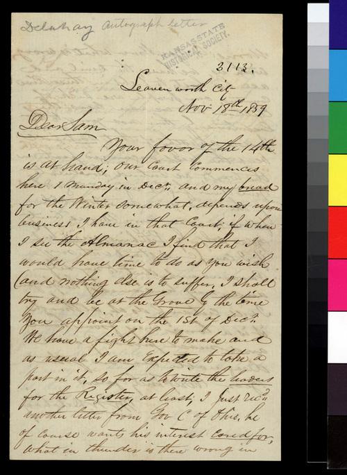 Mark W. Delahay to Samuel N. Wood - Page
