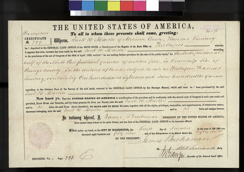 Pre-emption certificate issued to Jack H. Martin for land in Atchison County - Page