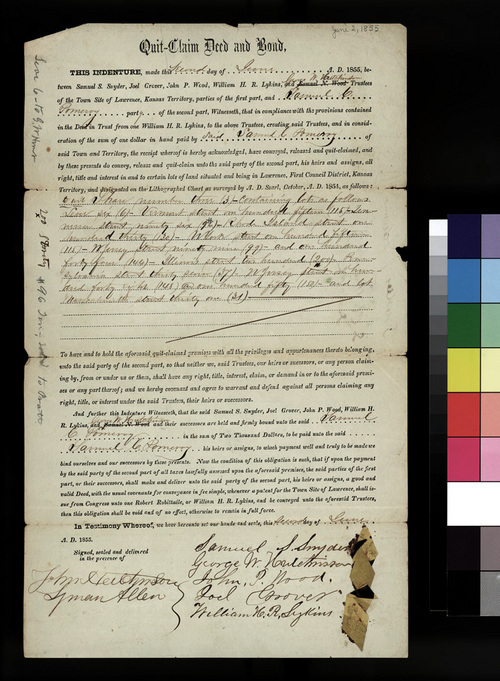 Quit-claim deed for Samuel Pomeroy for property in Lawrence, Kansas Territory - Page