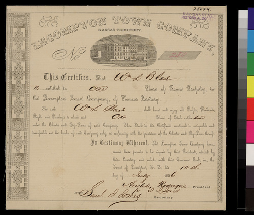 Lecompton Town Company certificate - Page