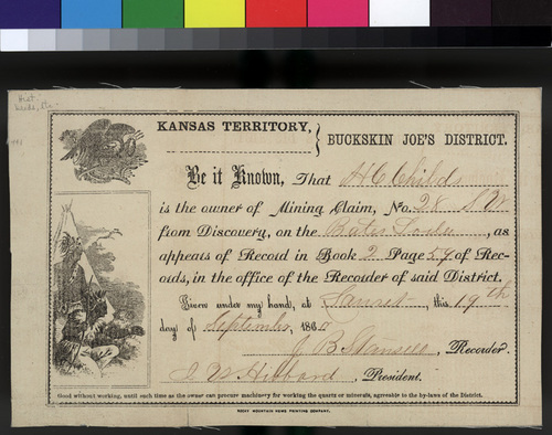 H. C. Childs' mining claim certificate - Page