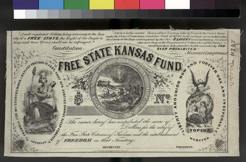 Free State Kansas Fund donation certificate - Page