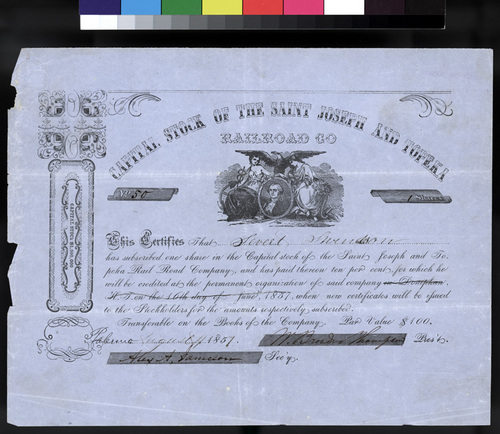 Saint Joseph and Topeka Railroad Company stock certificate - Page