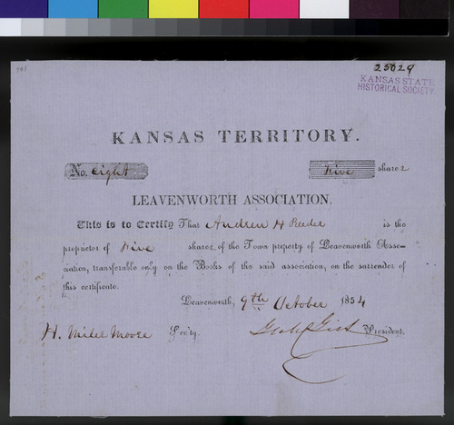 Leavenworth Association, Town Shares Certificate - Page