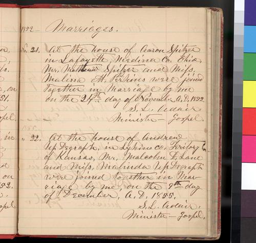 Kansas Territory marriage ceremonies performed by Rev. Samuel L. Adair - Page