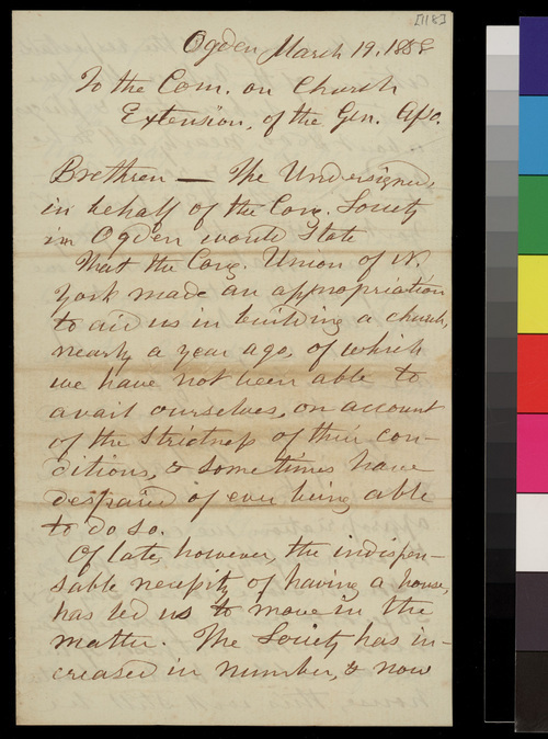 G. U. Parsons, Minister, and Benj. R. Edmonds, Clerk of Congregational Society, to the Committee on Church Extension of the General Association - Page
