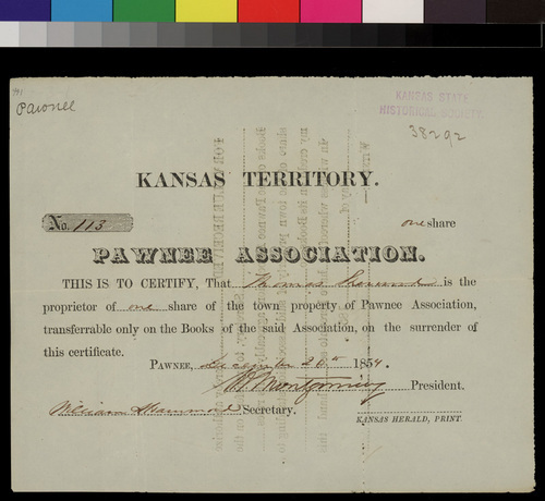 Pawnee Association, town share certificate - Page