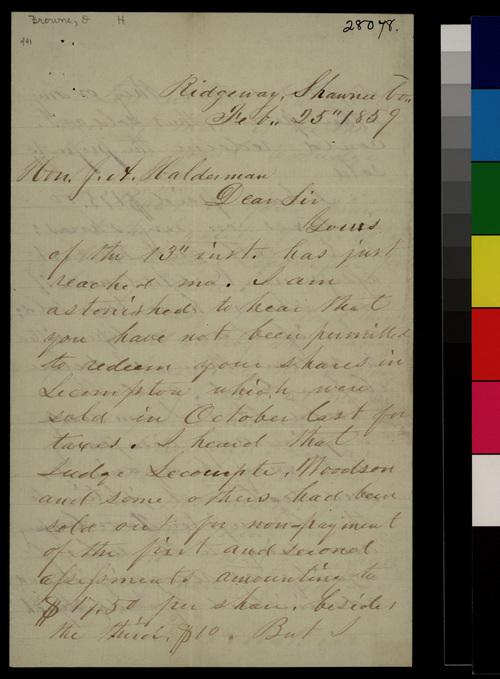O. H. Browne to J. A. Halderman - Page