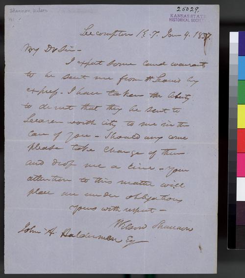 Wilson Shannon to John A. Halderman - Page