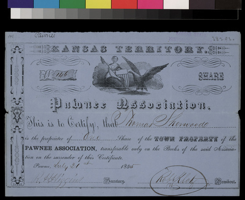 Pawnee Association Town share certificate - Page