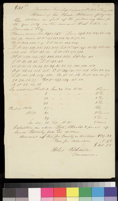 Tax receipt, Quindaro Township, Kansas Territory - Page