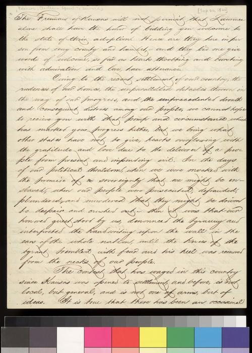Charles Robinson's speech welcoming William Seward - Page