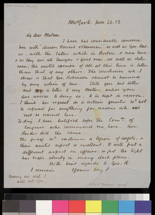 Amos A. Lawrence to Sara Robinson - Page