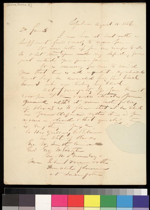 James H. Lane to Charles Robinson et al - Page