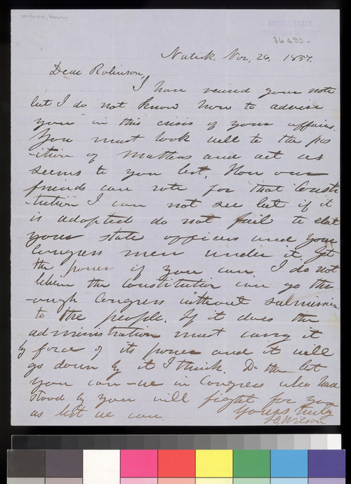 Henry Wilson to Charles Robinson - Page