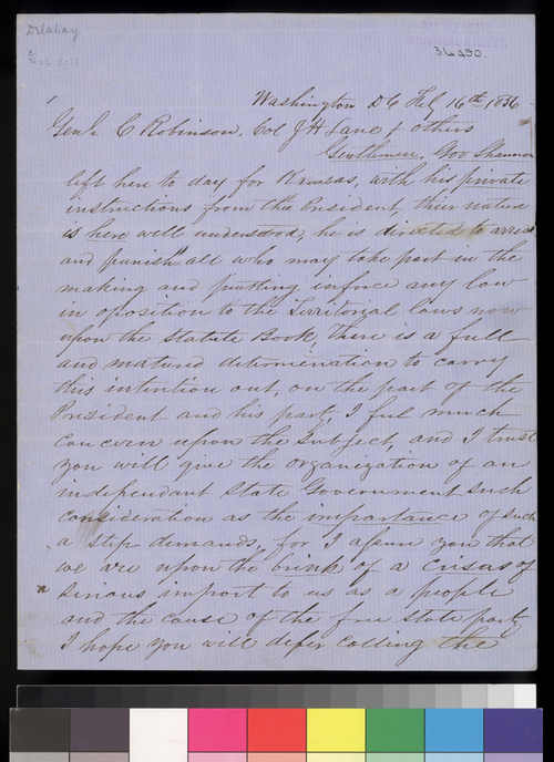 M. W. Delahay to Charles Robinson, James H. Lane and others - Page