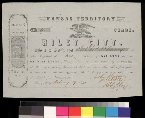 Riley City Town Share certificate - Page
