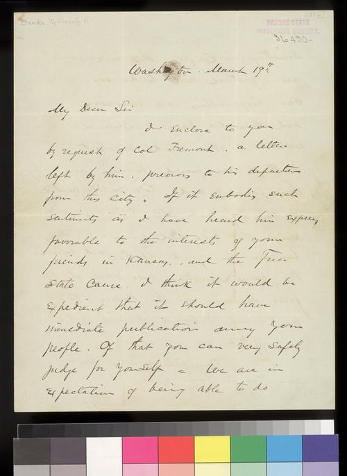Nanthaniel P. Banks to Charles Robinson - Page