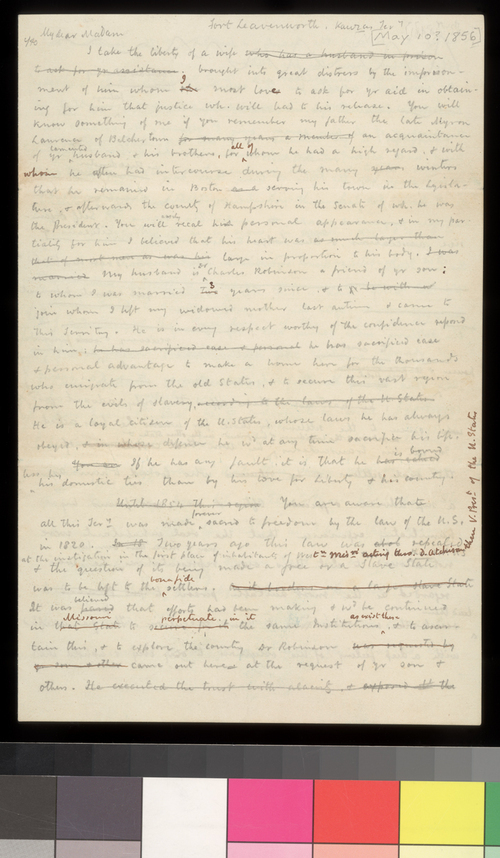 Draft letter, written by Amos Lawrence, for Sara Robinson - Page