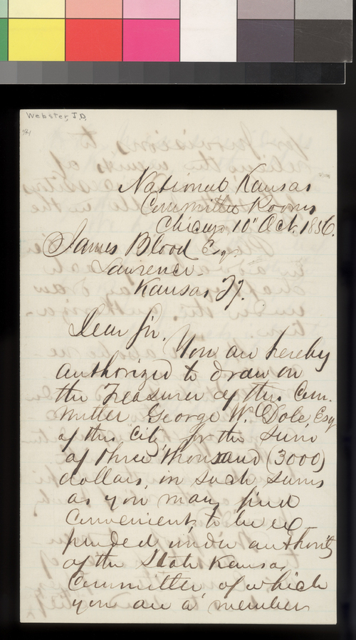 J. D. Webster to James Blood - Page