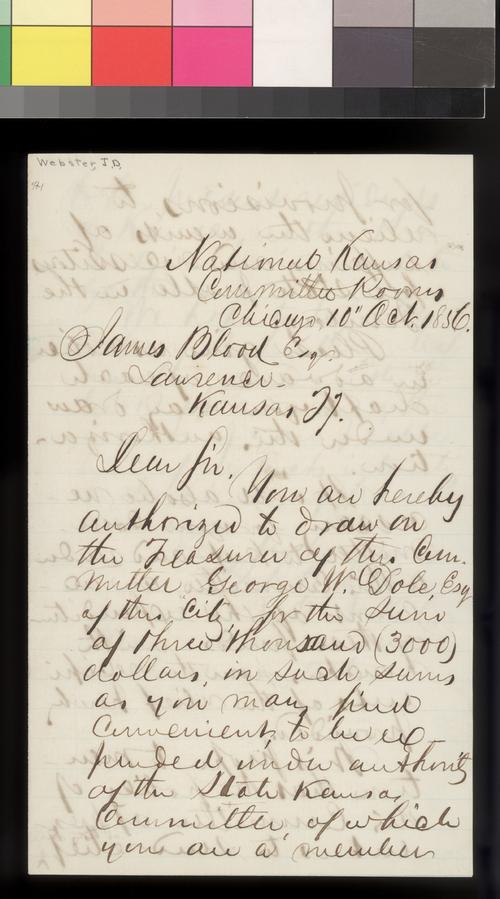 J. D. Webster to James Blood - Page