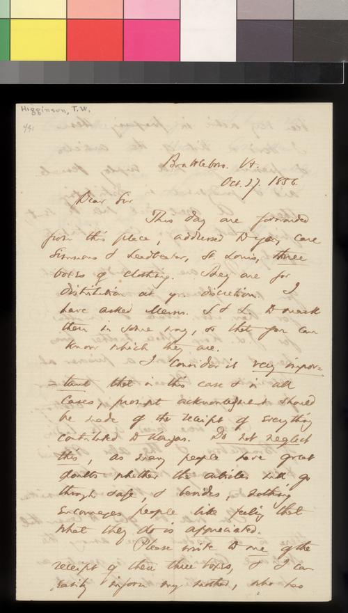 T. W. Higginson to William Hutchinson - Page