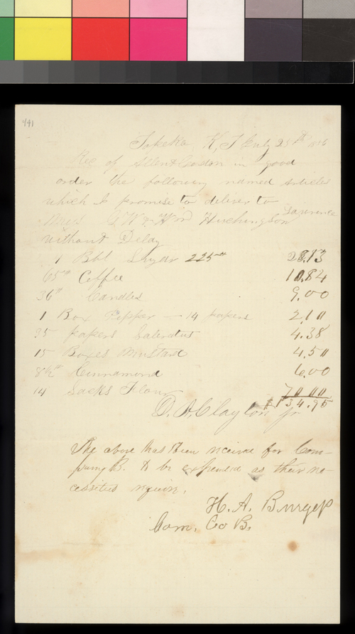 Receipt, D. A. Clayton, Jr. to G. W. Hutchinson and William Hutchinson - Page