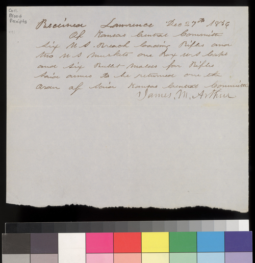 James M. Arthur receipt to Kansas Central Committee - Page