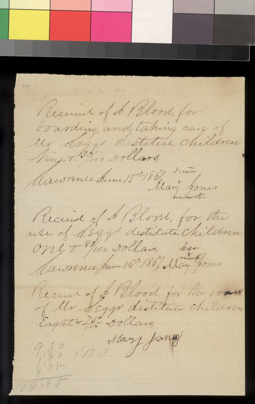 Mary Jones receipt to Kansas Central Committee - Page