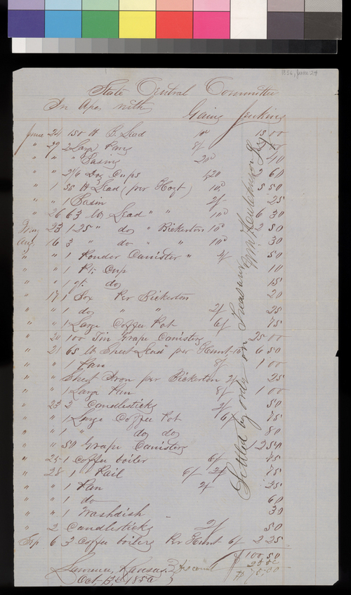 Gaius Jenkins' bill to the Kansas State Central Committee - Page