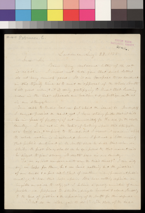 Charles Robinson to T. W. Higginson - Page