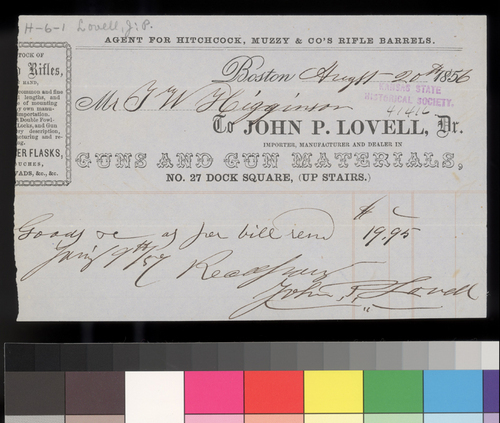 Receipt, John P. Lovell to Thomas W. Higginson - Page