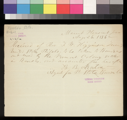Receipt, B. B. Newton to Thomas W. Higginson - Page
