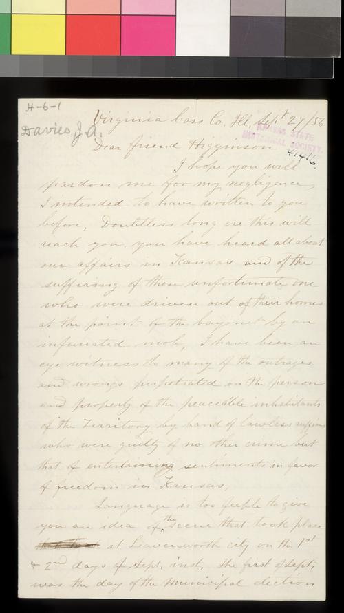 J. A. Davies to Thomas W. Higginson - Page