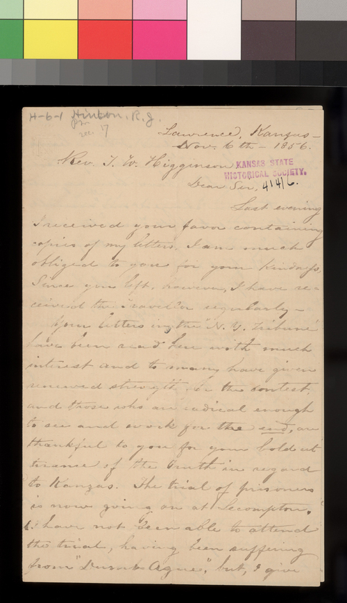 Richard J. Hinton to Thomas W. Higginson - Page