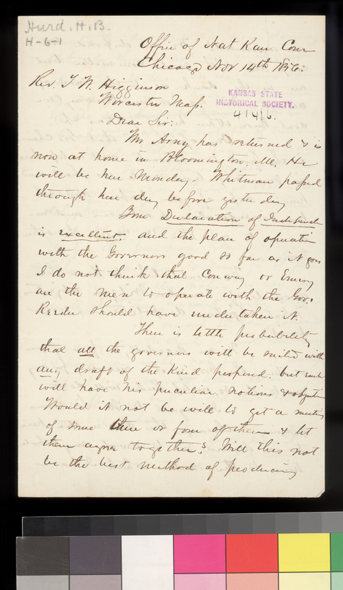 H. B. Hurd to Thomas W. Higginson - Page