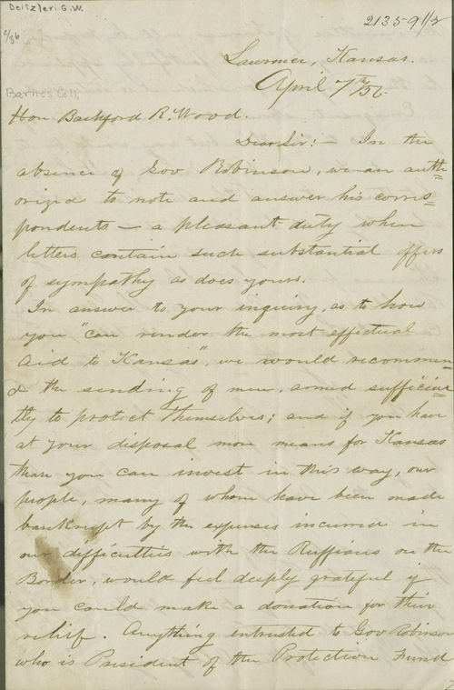 George Washington Deitzler to Bradford R. Wood - Page