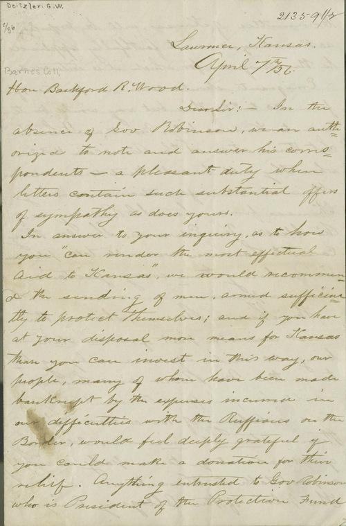 George Washington Deitzler to Bradford R. Wood - Page